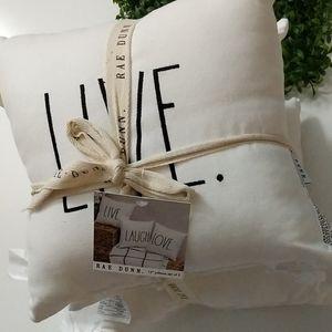 """Rae Dunn S/3 12"""" Pillows Live Laugh Love"""